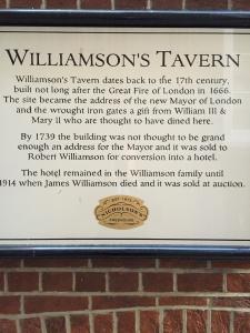 Williamson's Tavern plaque